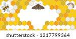 bee  wax moth  waxworm  bee comb | Shutterstock .eps vector #1217799364