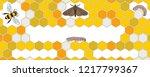 bee  wax moth  waxworm  bee comb | Shutterstock .eps vector #1217799367