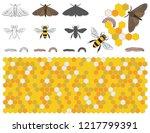 bee  wax moth  waxworm  bee comb | Shutterstock .eps vector #1217799391