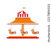 carousel with horses icon in... | Shutterstock .eps vector #1217804101