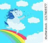 unicorn with magic blue mane... | Shutterstock .eps vector #1217805577