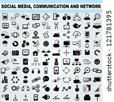 100 of social media  network... | Shutterstock .eps vector #121781395