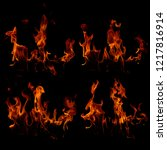 set of fire flames | Shutterstock . vector #1217816914