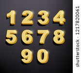 set of shiny golden 3d numbers. ... | Shutterstock .eps vector #1217820061