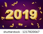 2019 new year holiday card with ... | Shutterstock .eps vector #1217820067