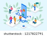 isometric seo optimization and... | Shutterstock .eps vector #1217822791