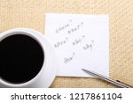 question on a napkin next to a... | Shutterstock . vector #1217861104