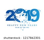 year of the pig 2019. blue... | Shutterstock .eps vector #1217862301