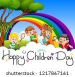 vector illustration of happy...   Shutterstock .eps vector #1217867161