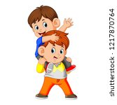 vector illustration of a happy... | Shutterstock .eps vector #1217870764
