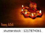 diwali decorative clay lamp...   Shutterstock . vector #1217874361