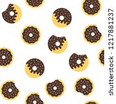 seamless delicious donut pattern | Shutterstock .eps vector #1217881237
