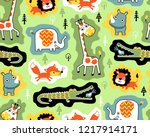 seamless pattern vector with... | Shutterstock .eps vector #1217914171