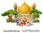 happy muslim kids cartoon in...   Shutterstock . vector #1217921191