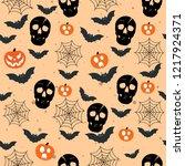 pattern hallowen skull | Shutterstock .eps vector #1217924371