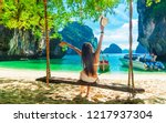 happy traveler woman in bikini... | Shutterstock . vector #1217937304