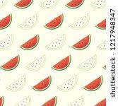 cute watermelon pattern... | Shutterstock .eps vector #1217948347