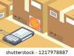vector modern barcode scanner...   Shutterstock .eps vector #1217978887