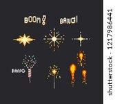 pixel firework set.8bit. | Shutterstock .eps vector #1217986441