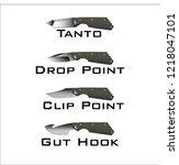 folding knife blade style | Shutterstock .eps vector #1218047101