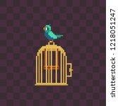 cute bird with cage. pixel art... | Shutterstock .eps vector #1218051247