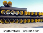 corrugated pipes. this pipe... | Shutterstock . vector #1218055234