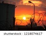 landscape of the oil plant ... | Shutterstock . vector #1218074617
