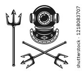 ancient diving helmet with... | Shutterstock .eps vector #1218083707
