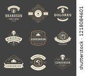 restaurant logos design... | Shutterstock .eps vector #1218084601