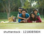 happy man and woman on a picnic ... | Shutterstock . vector #1218085804