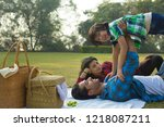 happy man and woman on a picnic ... | Shutterstock . vector #1218087211