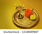 indian traditional oil lamp and ... | Shutterstock . vector #1218089887