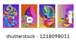 vector abstract 3d colorful... | Shutterstock .eps vector #1218098011