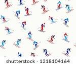 skiers pattern. winter seasonal ... | Shutterstock .eps vector #1218104164