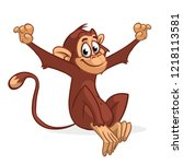 funny monkey vector...   Shutterstock .eps vector #1218113581
