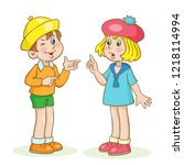 little funny boy and cute girl... | Shutterstock .eps vector #1218114994