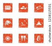 sunny day icons set. grunge set ... | Shutterstock .eps vector #1218115531