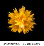 explosion of yellow powder... | Shutterstock . vector #1218118291