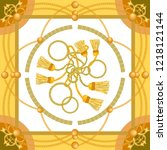 silk scarf with baroque motifs. ... | Shutterstock .eps vector #1218121144