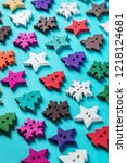 wooden buttons made of wood for ... | Shutterstock . vector #1218124681
