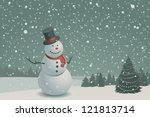 christmas scene with snowman... | Shutterstock .eps vector #121813714