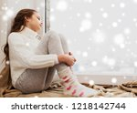 childhood  sadness and people... | Shutterstock . vector #1218142744