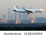 civil wide body airliner... | Shutterstock . vector #1218146344