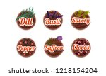 herbs and spices kitchen badges ... | Shutterstock .eps vector #1218154204