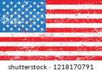 grunge flag of usa.old american ... | Shutterstock .eps vector #1218170791