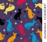 seamless pattern with colorful... | Shutterstock .eps vector #1218181837