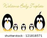 welcome baby penguins   triples ... | Shutterstock . vector #121818571