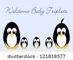 welcome baby penguins   triples ... | Shutterstock . vector #121818577