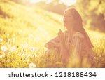 my wish. beautiful young woman... | Shutterstock . vector #1218188434