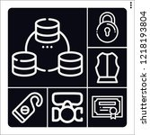 set of 6 security outline icons ... | Shutterstock .eps vector #1218193804